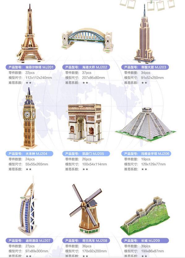 Robotime Wooden 3D Model DIY Toy Gift Puzzle Wolrd's Great Architecture Big Ben Eiffel Leaning Tower Bridge Burj Al Arab Hotel