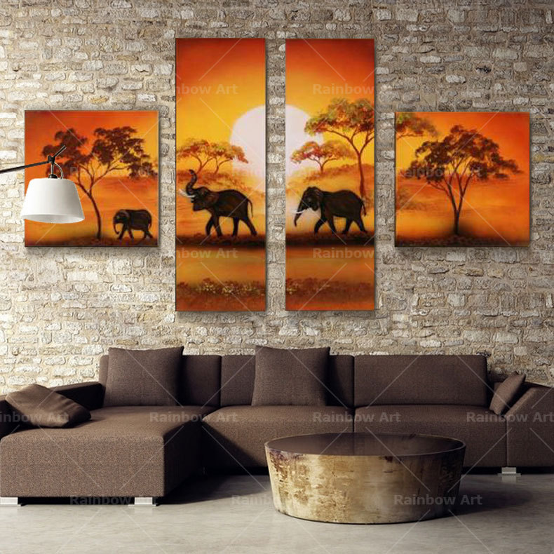 Cuadros Decoration Oil Paintings Canvas Wall Picture Canvas Art 4 Piece Handmade African For Living Room Home Decor (No Frame)