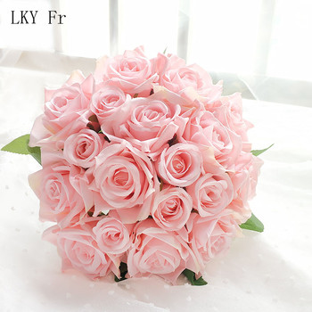 LKY Fr Wedding Bouquet Bridal Mariage Silk Artificial Flowers Roses Bouquets for Bridesmaids Accessories - discount item  45% OFF Wedding Accessories