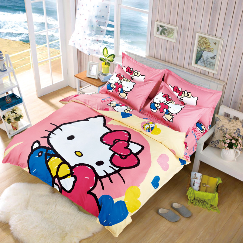 Hello Kitty Bedding Set Children Cotton Bed Sets Hello Kitty Duvet Cover Bed Sheet Pillowcase 4pcs Twin Full Queen Free Shipping
