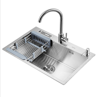 304 Stainless steel 6845cm kitchen manual big single bowl tank sink with drainage rack knife rack thickened dishwasher