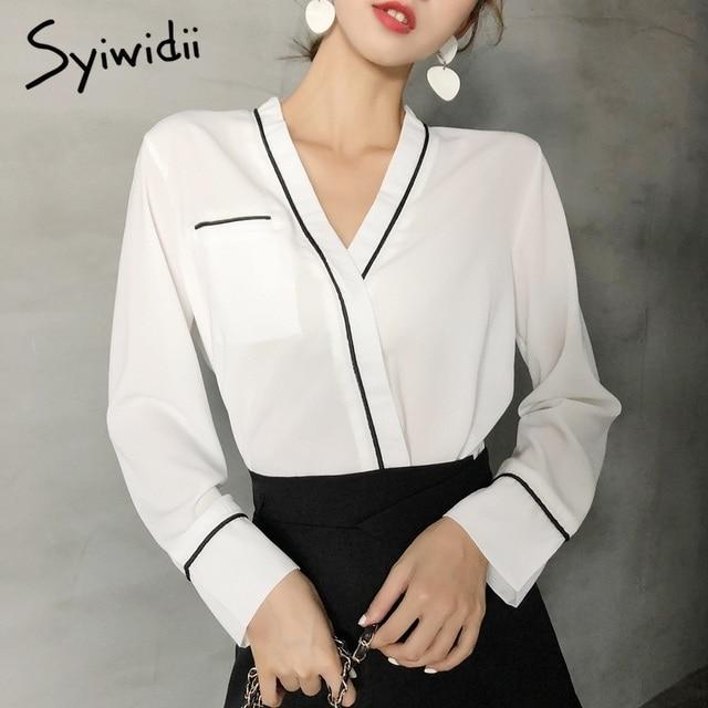 1a889ebab883 Silk Satin White Blouse New Autumn Vintage Women Shirts Loose Long Sleeve  V-Neck French Lazy Pajamas Style Elegant Blouse Shirt