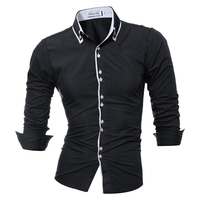 Men Shirt Brand 2017 Male Long Sleeve Shirts Casual Solid Multi Button Hit Color Slim Fit