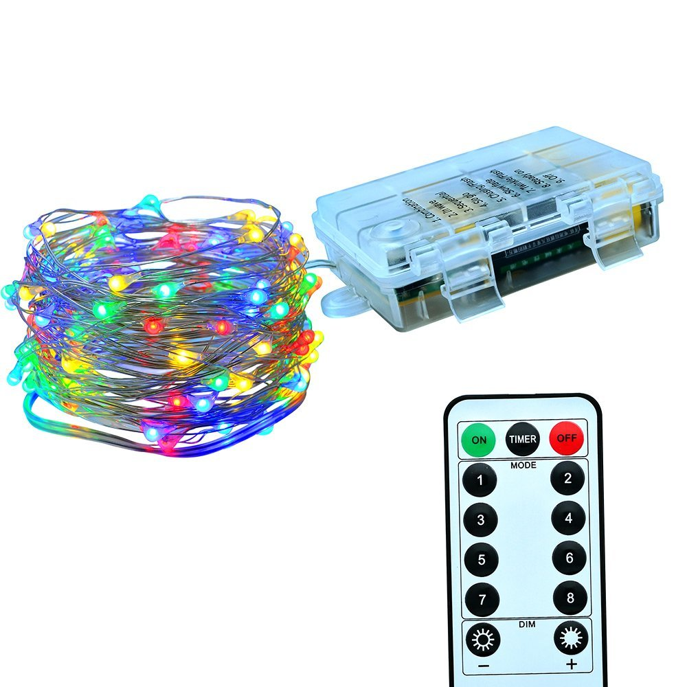 2m 5m 10m Battery Powered LED String Lights With Remote Control Flexible Silver Wire Waterproof Christmas Holiday Party