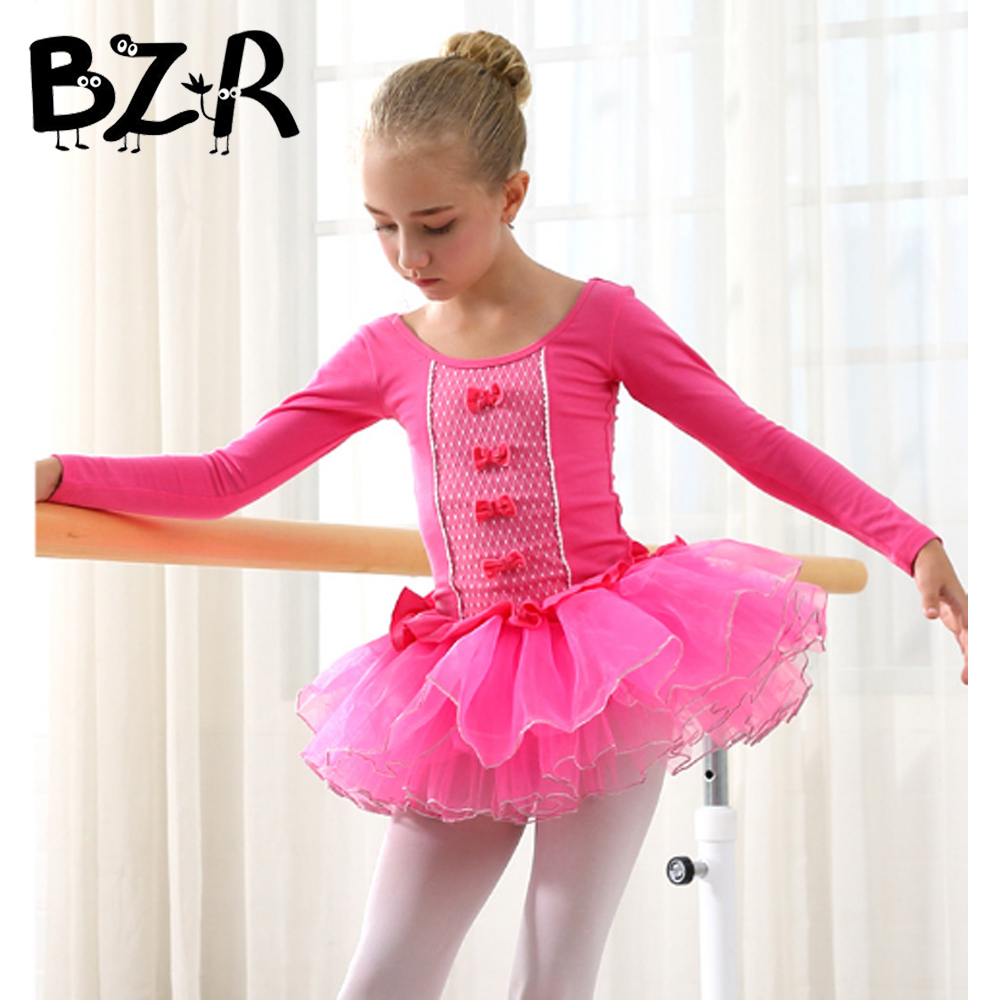 Bazzery Girls Ballet Dance Dress Tutus Autumn Winter 110-150cm Training Competition Dance Skirt with Open Crotch Under Shorts