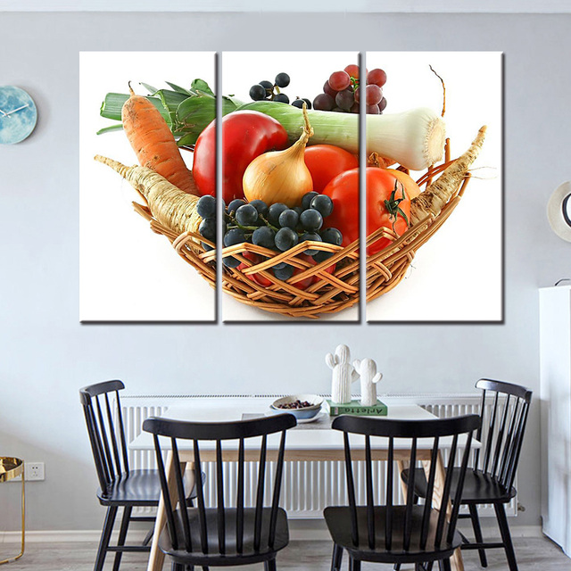 2017 New Spray Hd 3 Pieces Fruit Vegetables Canvas Paintings For Kitchen Room Wall Posters And