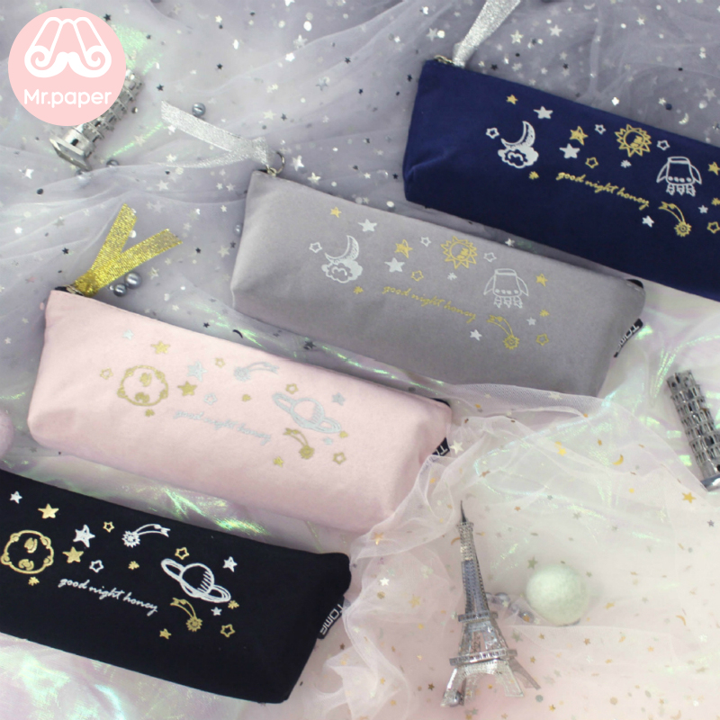 Mr.Paper 4 Designs Good Night Honey Moon Star Pencil Bag School Case Creative Stationery Kawaii Large Size Pencil Bags For Girls