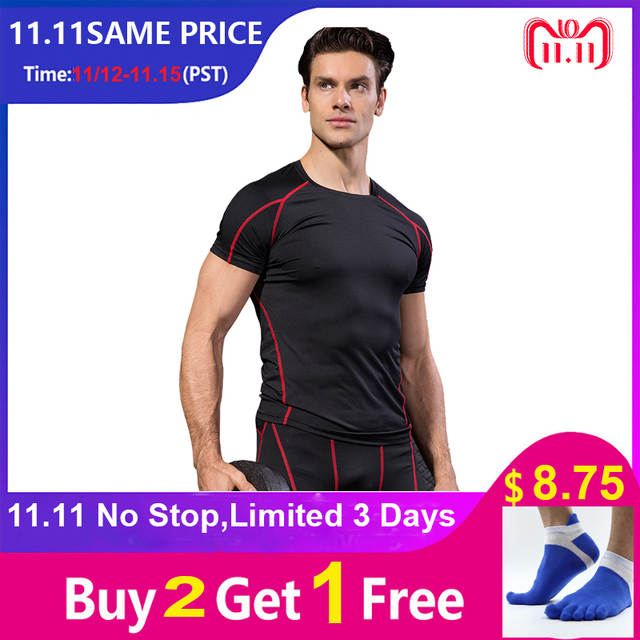 73944e813c2 placeholder Новый Для мужчин футболки быстросохнущая Tight Фитнес бег  футболки Для мужчин одноцветное короткий рукав Gym Спорт