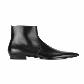 BLACK Zipper solid  retro genuine leather exclusive men's suede boots pointed toe plus size ankle platform Boots