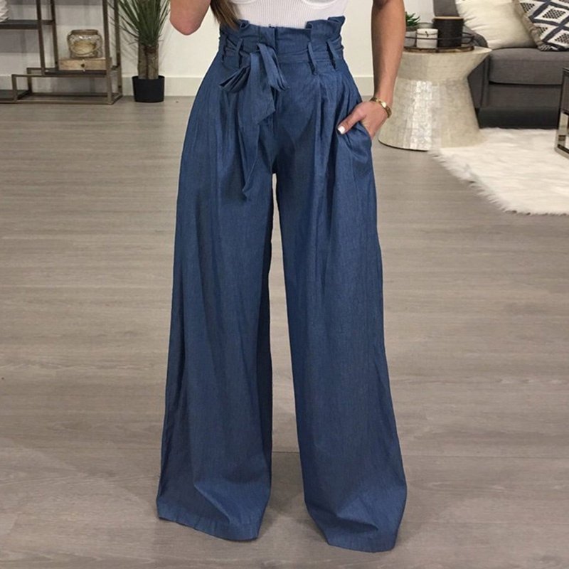 Tunic Wide Leg Pants Female High Waist Lace Up Maxi Trousers Large Size 2019 Autumn Fashion Women OL Clothing Loose Long Pants