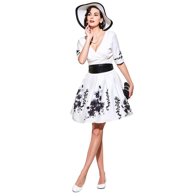 Sisjuly vintage dress style 1950s retro women print flower  spring summer party dresses 2017 elegant female vintage dresses