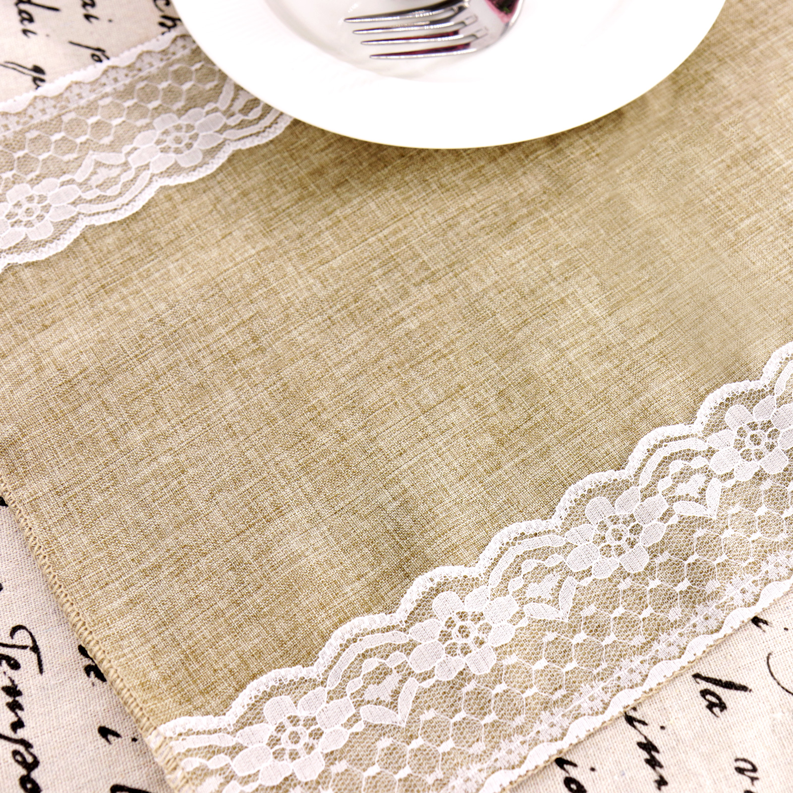 Vintage Burlap With Lace 30x275cm Tablecloths Table Runners Doilies Placemats