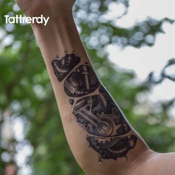 Temporary tattoos 3D black Robot mechanical arm fake transfer tattoo stickers hot sexy cool men spray waterproof designs C058 3