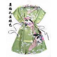 New Arrival Verde Pavão robe pijamas das Mulheres Chinesas Seda Rayon Roupão de Banho Vestido de Um Tamanho Da Flor Frete Grátis