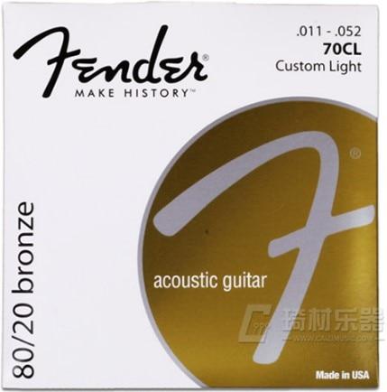 Fender 70CL 80/20 Bronze Acoustic Guitar Strings, Custom Light, 11-52