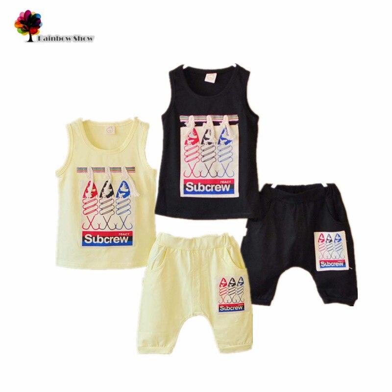 Novas Crianças Meninos Roupas de Verão Define Crianças Casuais Três Peixes  Algodão Colete e Calções Define Conjuntos de Calças Do Bebê bb82cfd7324b3