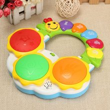 Puzzled Educational Electronic Hand Clap Drum Light Music Childhood White Yellow Mixed Learning Musical Toys Gifts For Baby sound activated on off switch by hand clap 110v electronic gadget white