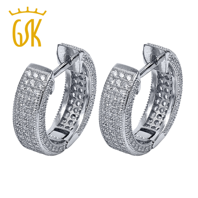 3 60 Ct Round White Zirconia 925 Sterling Silver Hoop Earrings Women Fine Jewelry 16mm