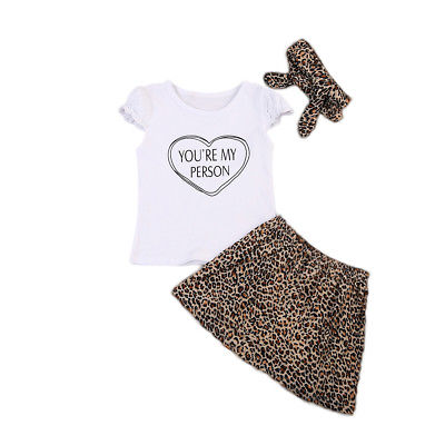 Toddler Infant Baby Girls Outfit Kids Clothes Heart Short Sleeve Letter Tops+Leopard Skirt+Headband BabySet