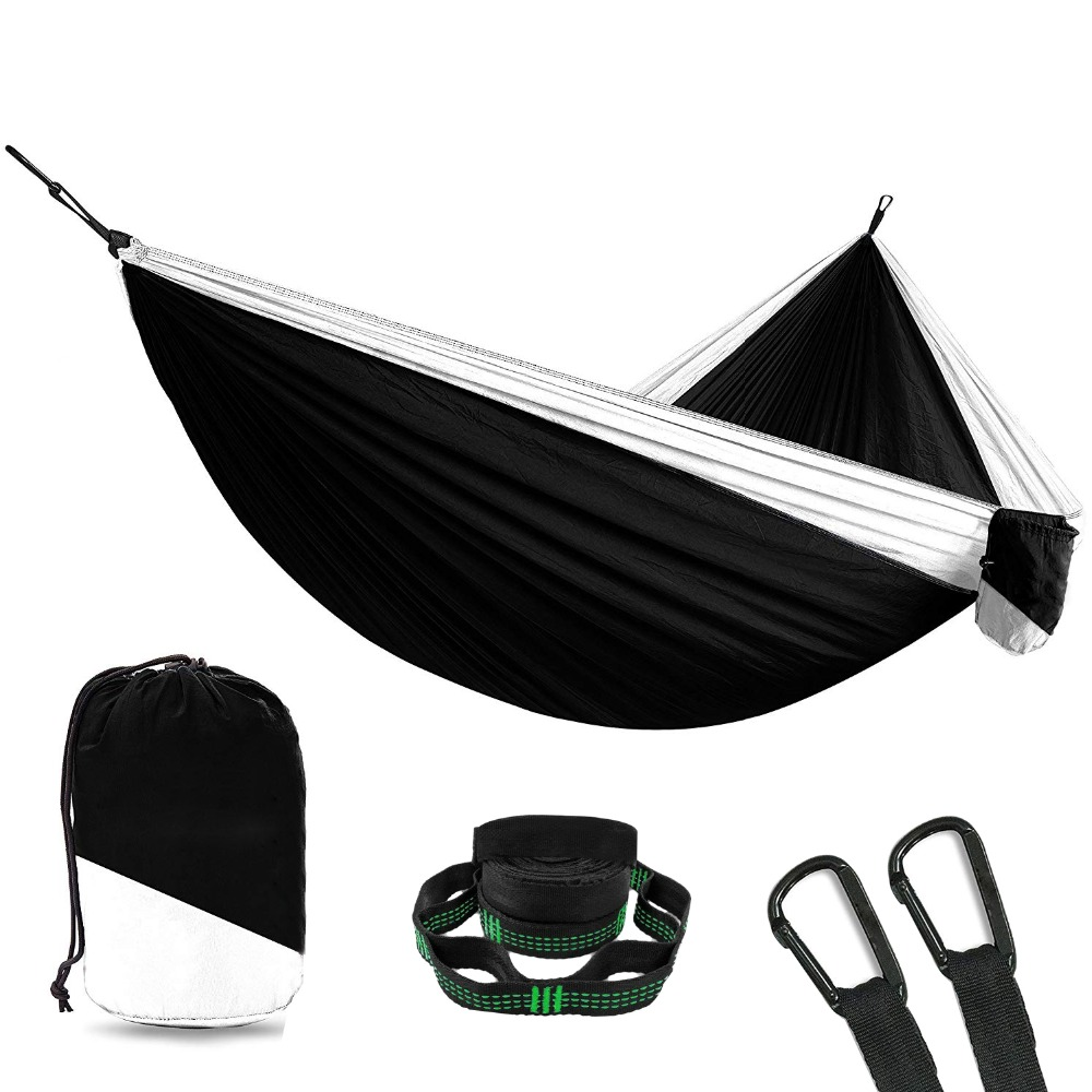 Portable Hammock Double Person Camping Hammock Survival Garden Hunting Leisure Travel Furniture Parachute Hammock With Straps double camping hammock mosquito bug net hammock tree straps carabiners easy assembly portable parachute for survival travel