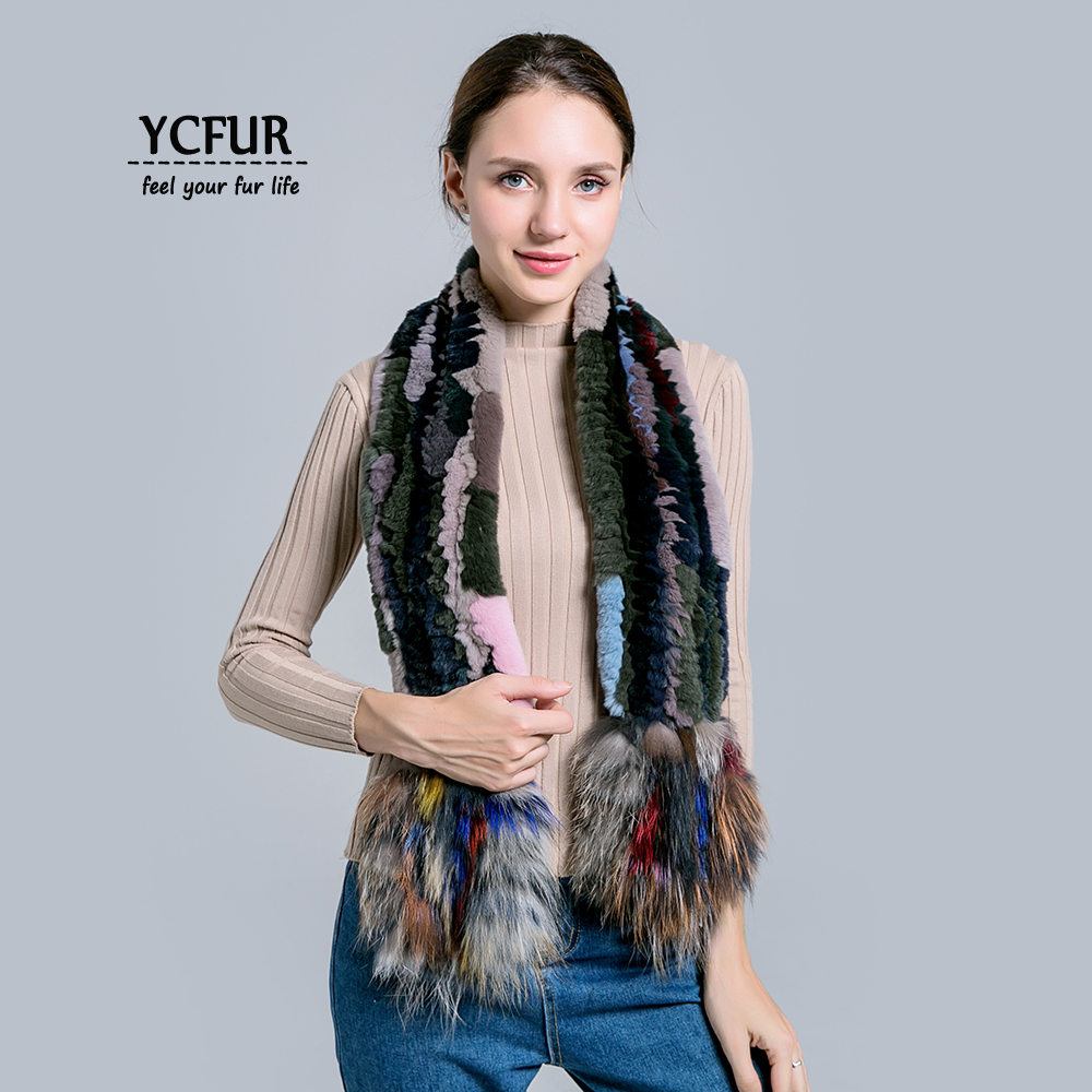 YCFUR Brand Design Women   Scarves   Winter Knit Rex Rabbit Fur   Scarf   with Silver Fox Fur Long   Scarf     Wrap   Female