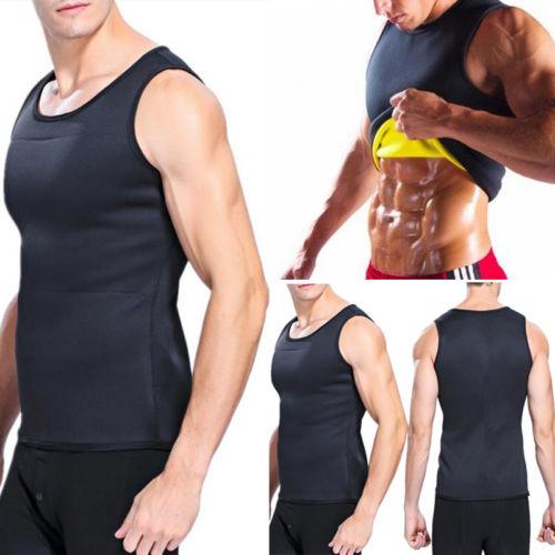 Summer Men Gym Neoprene   Tank     Tops   Sauna Ultra thin Sweat Shirt Body Slimming Corset O-Neck   Tank   Bodybuilding Sleeveless Vest