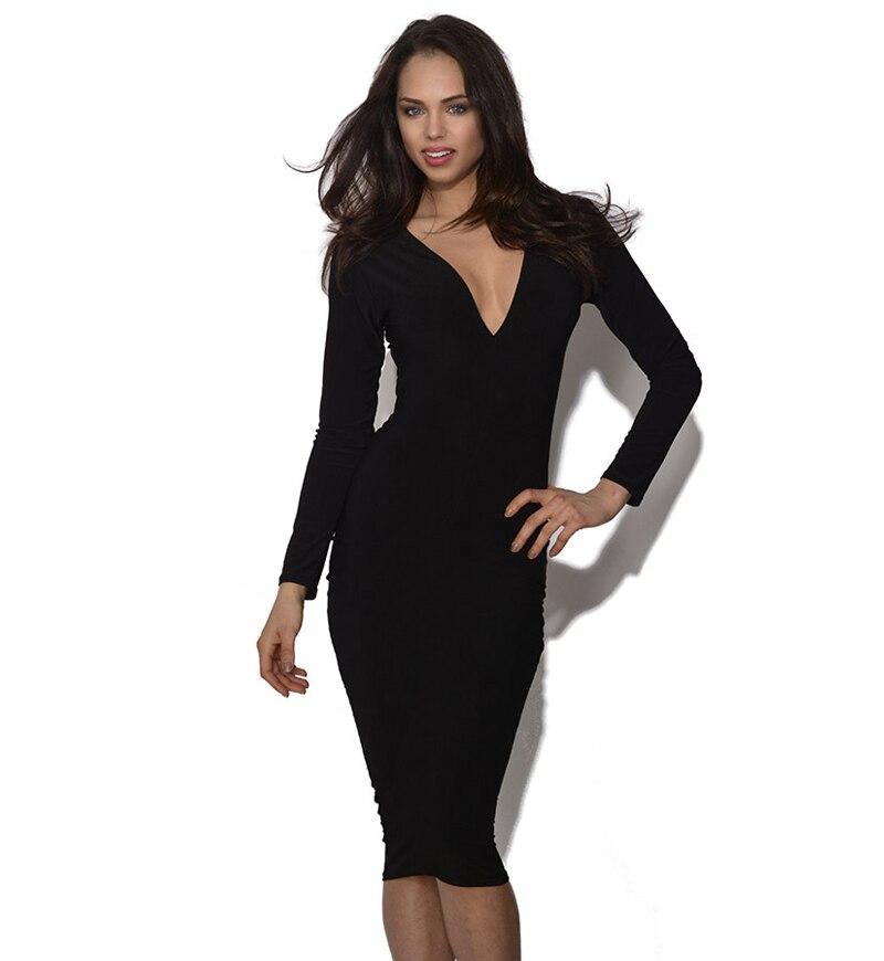 b4d33d082 Aamikast bodycon الفساتين الخريف رسمي جديد أزياء الساخن بيع أنيقة الخامس  الرقبة كم كاملة فساتين الركبة طول قلم