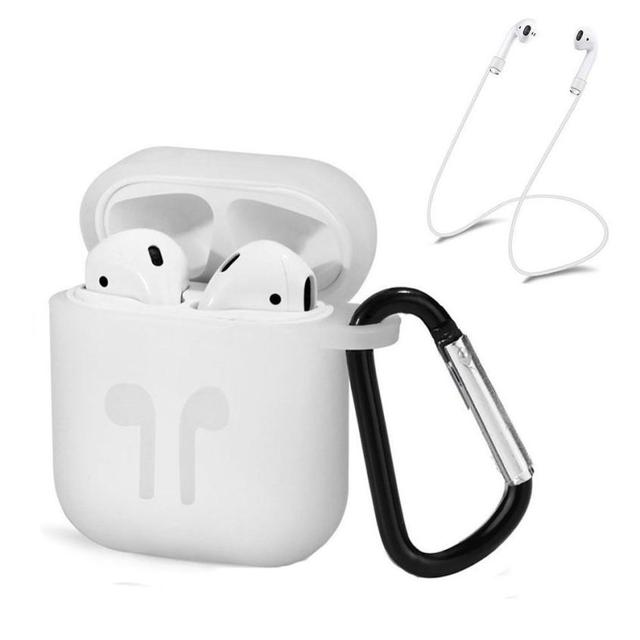 New Develop Silicone Cover Skin Case w/ Carabiner+Anti-lost Earphone Strap for iPhone for wireless earphones drop Shipping