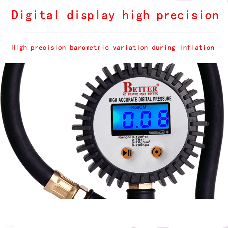LCD high precision electronic display tube air pressure gauge for  automotive tire inflatable rubber test aluminum zinc alloy