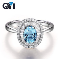 QYI 1.25 ct Oval Cut Natural Blue Topaz Wedding Ring Women Luxury Silver 925 Sterling Gemstone Fine Jewelry with Gift Box