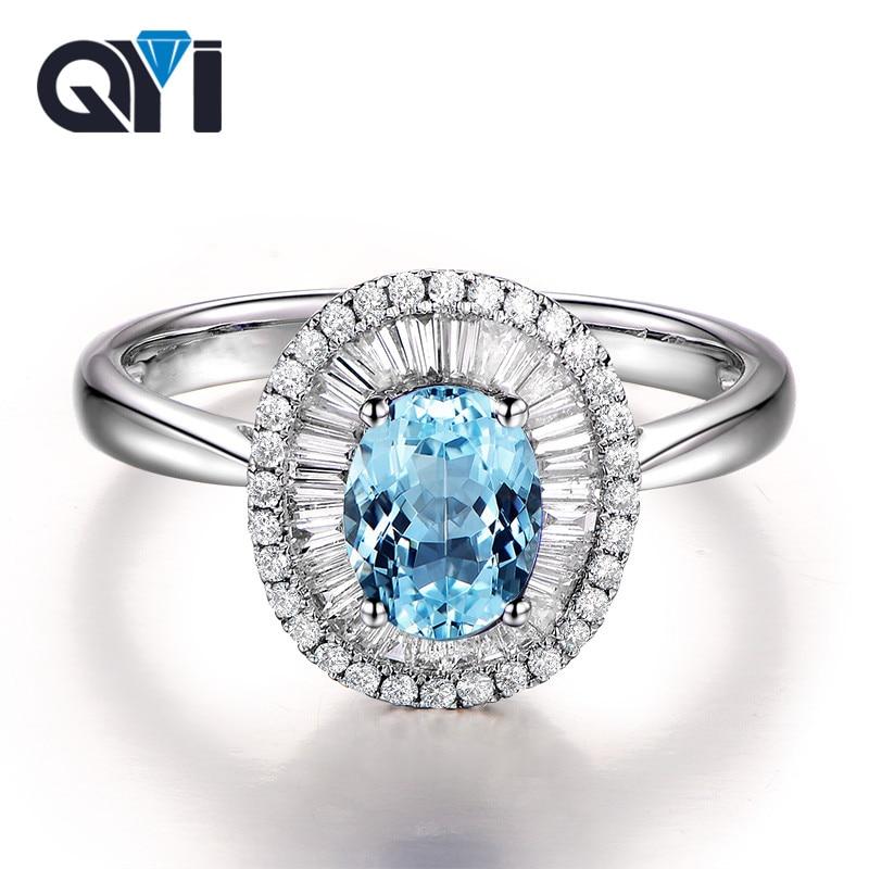 QYI 1.25 ct taille ovale topaze bleue naturelle bague de mariage femmes de luxe en argent 925 Sterling pierres précieuses bijoux fins avec boîte-cadeau