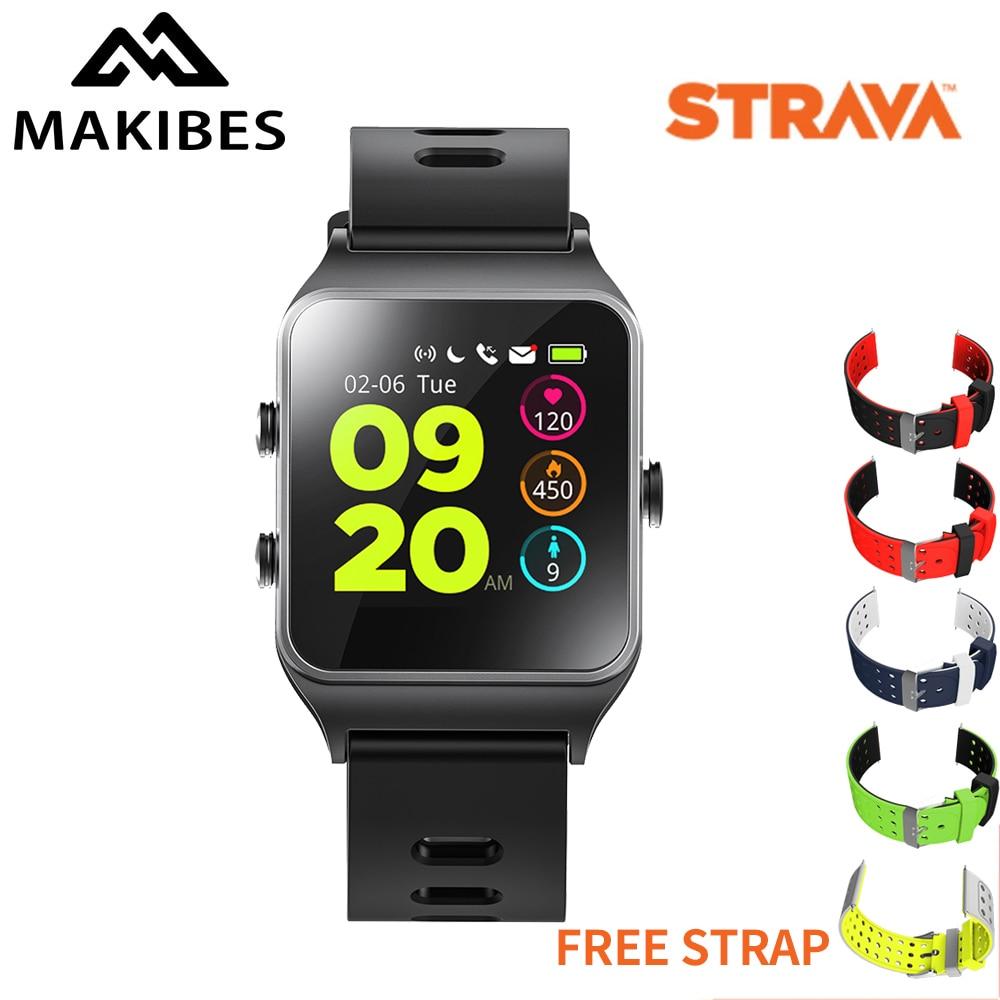 Bracelet gratuit Makibes BR3 montre intelligente GPS Strava bracelet IP68 étanche fréquence cardiaque 1.3
