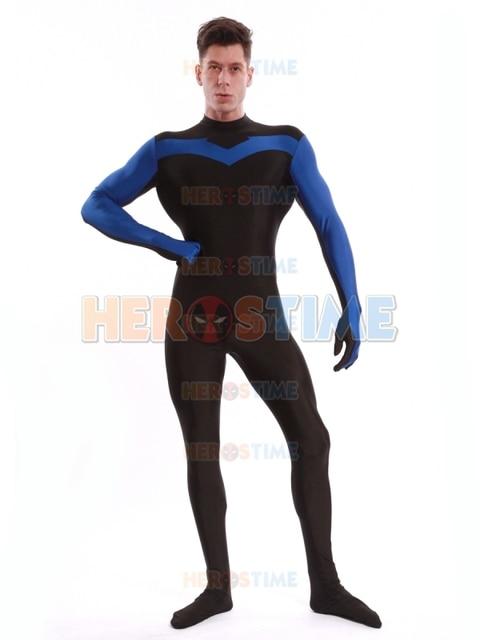 Blue  Black Nightwing Costume Spandex Tight Zentai Suit -7374