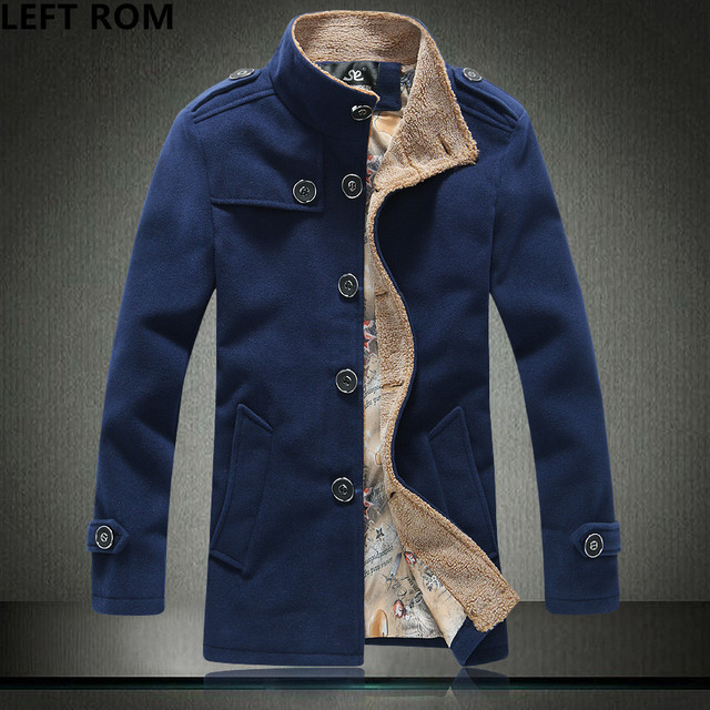 42265bf78 LEFT ROM New Winter Brand Mens Woolen Coat Epaulet Design Lambswool Stand  Collar Peacoat Men High Quality Masculino Jacket 5XL