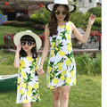 2016 Brand New Arrival Summer Family Matching Mother Daughter Print Lemon Dress Clothing Set Mom And Daughter Fashion Dress