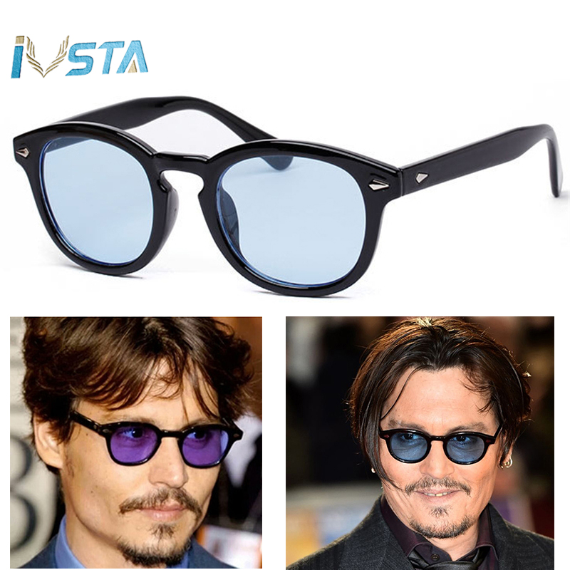 in vendita d2e0b 4c6f4 IVSTA Johnny Depp Glasses Men Sunglasses Tony Stark Retro Sunglasses Gothic  Steampunk Round Tint Ocean Lens Party Festival
