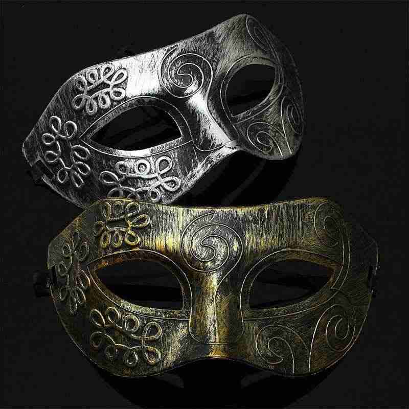 1pc Men Retro and Especially Burnished Venetian Mask Halloween Masquerade Party Eye Mask Vintage PVC Material 2019 New Arrival