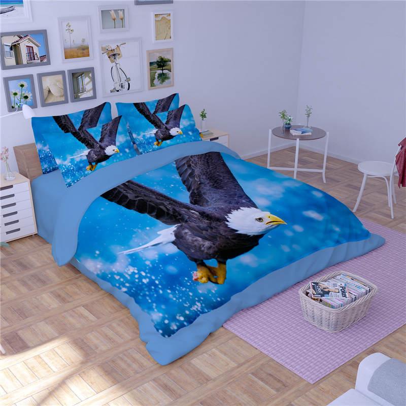 Aigle oiseaux 3D imprimé couette ensembles de literie double reine complète roi taille couette/housse de couette 3pc garçons adultes linge de lit couleur bleue - 3