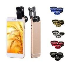 3 в 1 Объективы для мобильных телефонов рыбий глаз широкоугольный макрообъектив набор универсальный зажим фото аксессуар