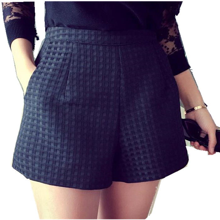 2017 Summer women high-waisted candy colors short new Europe and Joker dark Plaid plus size shorts loose wide leg shorts woman
