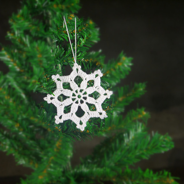 Hot Crochet Christmas Ornaments Hanging Christmas Decorations White