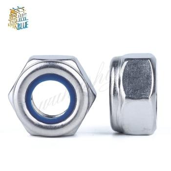 304 Stainless Steel Nylon Insert Self-Lock Nuts (Nyloc) Hex Lock Nut Fine Thread A2-70 M3/4/5/6...20 GB889 free shipping 10pcs lot cw m3 lock nut aluminum lock nut with nylon inserted