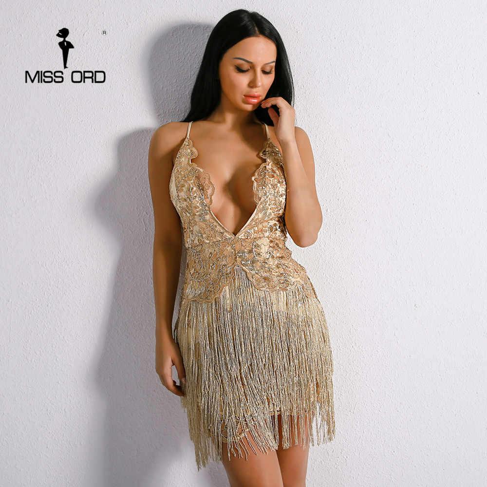 Missord 2018 Sexy Harness Off Shoulder Backless Dresses Female Embroidery  Flower Elegant Tassel Mini Dress FT8891 6204885dc