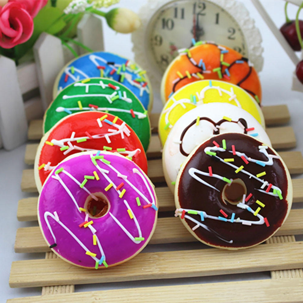 Simulation Cute Donut Squishy Squeeze Toy Stress Reliever Soft Colourful Doughnut Scented Slow Rising Toys Kawaii Stationery A1