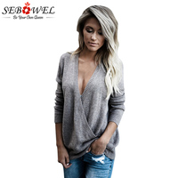 SEBOWEL 2017 New Sexy Deep V Oversized Sweater Women Autumn Long Sleeve West Coast Wrap Front