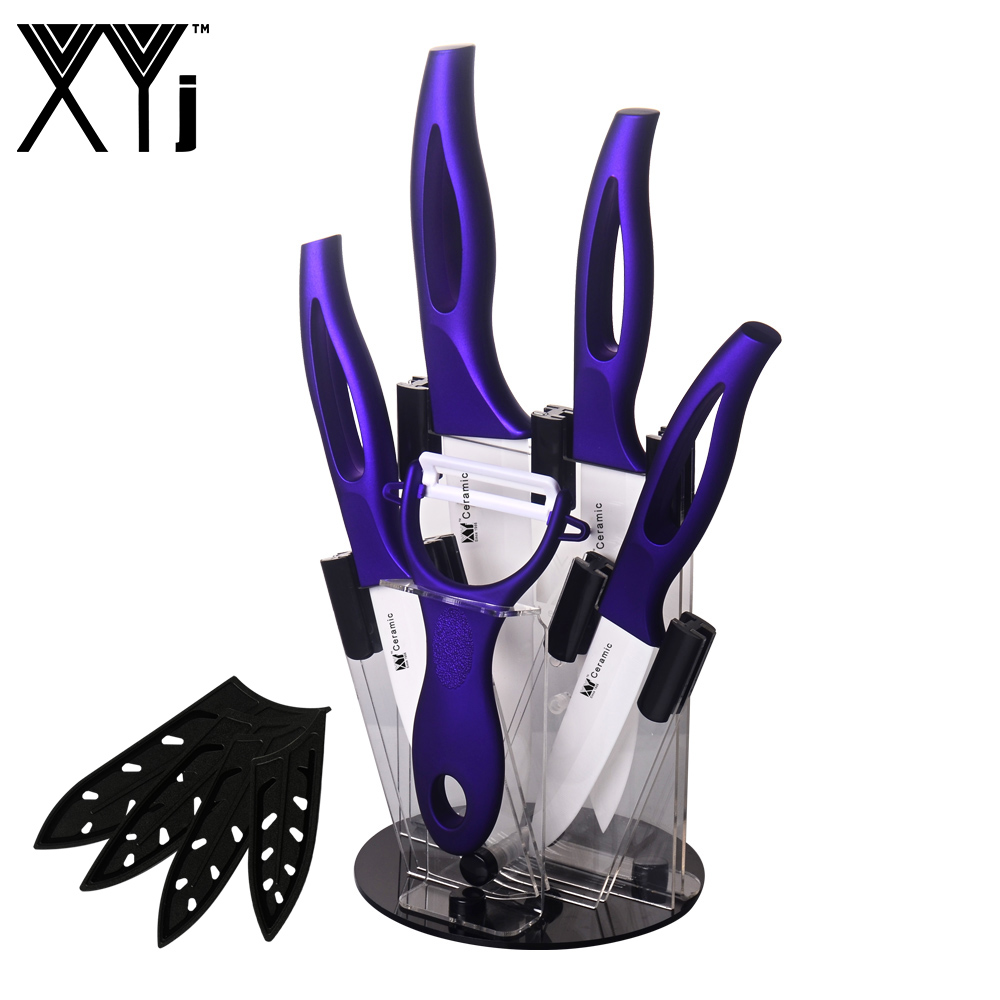 3, 4, 5, 6 Inch Ceramic Knife Set + Knife Holder + Peeler Best Cooking Tools White Blade Purple Handle Kitcehn Knife 6 Piece Set