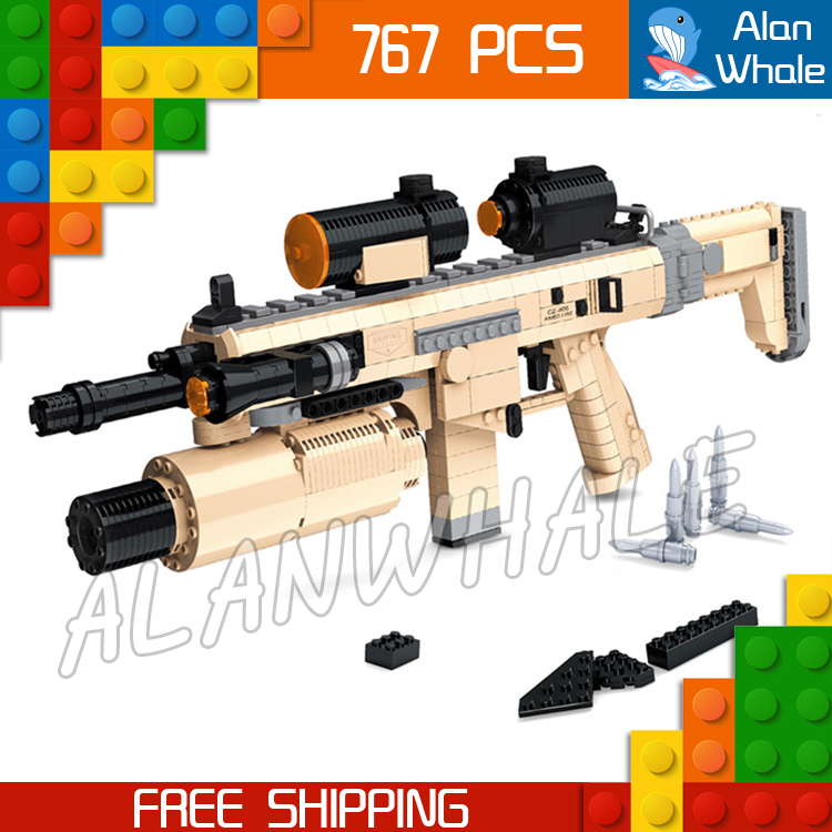 767PCS New CZ805 BREN A1 Model Toy Gun Weapon For Military Assault Soldiers Building Kit Blocks Toys Brick Compitable with Lego kazi 228pcs military ship model building blocks kids toys imitation gun weapon equipment technic designer toys for kid