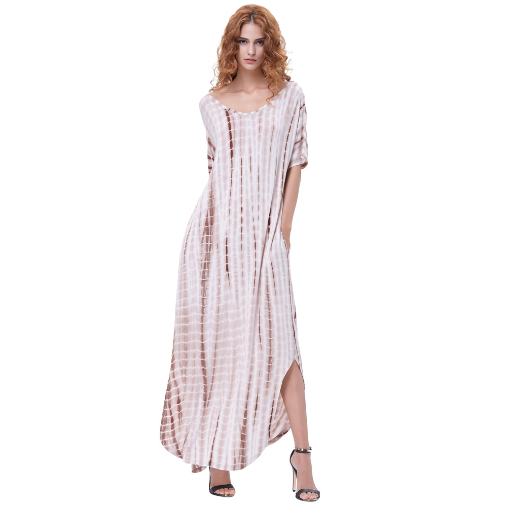 e6c640ae7eb5 Kate Kasin Summer Dresses 2018 Women Tie Dye Maxi Dress Soft Fabric Short  Sleeve V Neck Split With Pockets Loose Casual Vestidos-in Dresses from  Women s ...