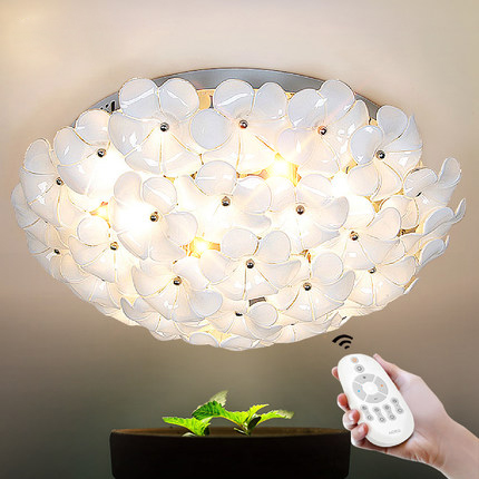Modern Remote control Surface Mounted LED Ceiling light Flower Shape Rustic Glass Ceiling Light fixture For Dining Room Foyer modern 3 6 lights crystal glass clear wineglass wine glass ceiling light lamp bedroom dining room fixture gift ems ship