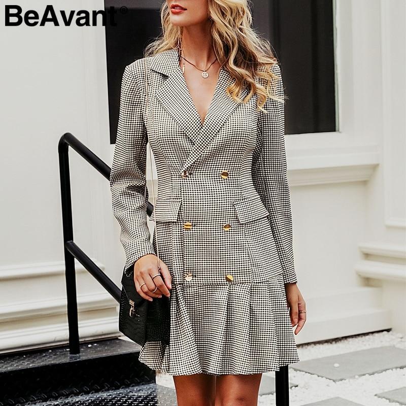 BeAvant Vintage Plaid Women Office Dress Double Breasted Pleated Blazer Dress Long Sleeve Female Party Dresses Autumn Outerwear